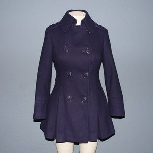 MISS SIXTY Purple Wool Blend Peplum Pea Coat sz XS